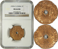 FRENCH INDO CHINA 1 CENT 1939A NGC MS66RD NGC POP 3/0