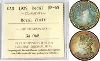 CANADA 1939 ROYAL VISIT SILVER MEDALLION ICCS MS65 GORGEOUS TONING
