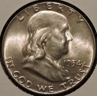 FRANKLIN HALF DOLLAR   1954   HISTORIC SILVER   $1 UNLIMITED SHIPPING