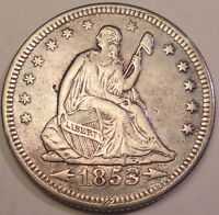 1853 O 25C ARROWS AND RAYS SEATED LIBERTY QUARTER