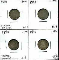 1876 1887 1890 AND 1891 10C LIBERTY SEATED DIMES   4 COIN LOT