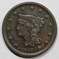 1841 N 2 R 2 BRAIDED HAIR LARGE CENT COIN 1C