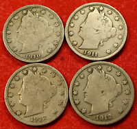 1910, 1911, 1912, 1912-D LIBERTY V NICKEL VG  COLLECTOR 4 COINS LN412