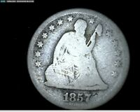 1857  O SILVER SEATED LIBERTY QUARTER 4346