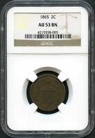 1865 NGC AU 53 BN TWO CENT PIECE 2C