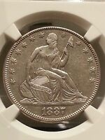 1887 SEATED LIBERTY HALF      NGC AU 53   MINTAGE ONLY 5,710