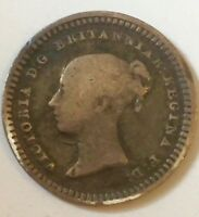 QUEEN VICTORIA1843 YOUNG HEAD SILVER THREE HALFPENCE COIN
