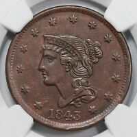 1843 N 3 R 3 NGC AU 53 PETITE HEAD SM LETTERS BRAIDED HAIR LARGE CENT COIN 1C