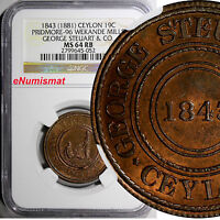 CEYLON GEORGE STEUART & CO 19 CENT.TOKEN 1843 1881 NGC MS64 RB PRIDMORE 96