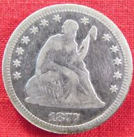 1877 S SEATED LIBERTY QUARTER WITH MOTTO HARSHLY CLEANED 1890