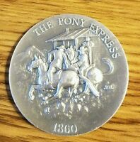 1OZ. LONGINES SYMPHONETTE .999 SILVER 1860 THE PONY EXPRESS COIN