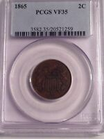 1865 2C TWO CENT PIECE PCGS VF35