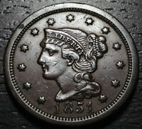 1851 BRAIDED HAIR LARGE CENT     MAKE US AN OFFER O3739