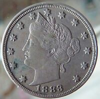 1883 LIBERTY NICKEL NO CENTS TYPE 1 UNITED STATES 5 CENTS COIN