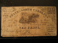 1862 CONFEDERATE STATE OF NORTH CAROLINA 10C CENT NOTE TEN CENTS RALEIGH