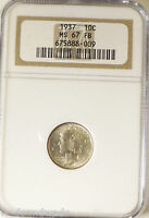 1937 10C FB MERCURY DIME NGC MS67FB OLD HOLDER LOT22