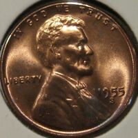 1955 S LINCOLN CENT NICE COIN BU UNC MS N12 30