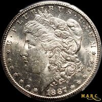 1887-S AU58 PCGS SECURE 1$ MORGAN DOLLAR, BRIGHT LUSTROUS, FREE PCGS PHOTO