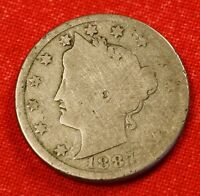 1887 LIBERTY V NICKEL G  DATE BEAUTIFUL COLLECTOR COIN GIFT LN322