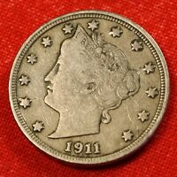 1911 LIBERTY V NICKEL F  DATE BEAUTIFUL COLLECTOR COIN GIFT LN388