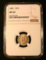 1881 NICKEL THREE CENT PIECE NGC MS62 UNCIRCULATED