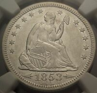 1853 O 25C NGC AU53 NEW ORLEANS ARROWS & RAYS SEATED LIBERTY QUARTER