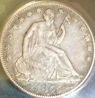 1855 O LIBERTY SEATED FIFTY CENT..ANACS AU50EDGE,CLN..SALE50OFF REDUCED 5/25
