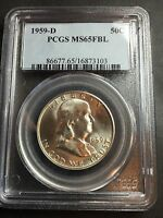 1959 D FRANKLIN DOLLAR PCGS MS 65 FBL CERT 16873101