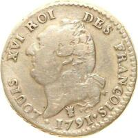 A1913 CONSTITUTION 1791 1792 15 SOLS LOUIS XVI 1791 I LIMOGES ARGENT    F.O.