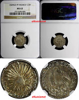 MEXICO REPUBLIC SILVER 1849 GO PF 1/2 REAL NGC MS63 NICE TONING  KM 370.7