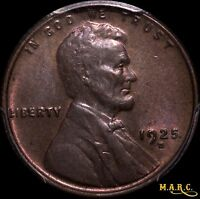 1925-D MINT STATE 63RB PCGS 1C LINCOLN WHEAT CENT, RED-BROWN, SHIPS FREE, MARC