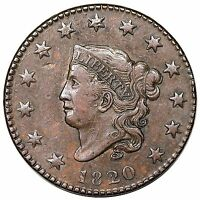 1820 CORONET HEAD LARGE CENT SMALL DATE  N 4 R.4 NICE XF AU