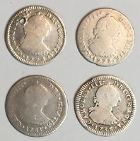 1774 1782 1 REAL CAROLUS III. 4 SILVER COIN SET. 1774 1778 1781 1782