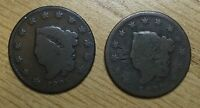 1820 & 1825 CORONET HEAD LARGE CENTS. 2 COIN SET