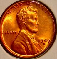 1949 D LINCOLN WHEAT CENT..BRIGHT TONED BU RD..SALE 33 OFF HURRY C7