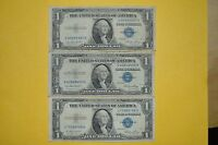 1935 E SILVER CERTIFICATES 3 TOTAL $1 ONE DOLLAR BILL