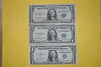 1935 F SILVER CERTIFICATES 3 TOTAL $1 ONE DOLLAR BILL