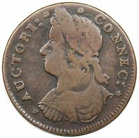 1787 CONNECTICUT COPPER DRAPED BUST LEFT MILLER 33.17 R.1 NICE F
