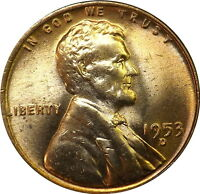 1953-D 1C RD LINCOLN CENT BRILLIANT UNCIRCULATED RED LOT4