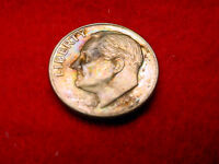 1955 D ROOSEVELT DIME GREAT BU RAINBOW TONED COIN 7/BOX