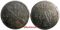SWEDEN COPPER 1805  1 SKILLING OVERSTRUCK ON 2 ORE S.M. 1766 / FULL EARLY DATE /