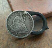 1843 & 1857 SEATED LIBERTY SILVER HALF DOLLAR 20X LOUPE UNIQUELOOK