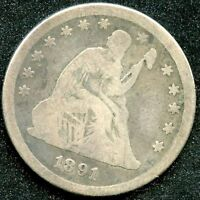 1891 G SILVER SEATED LIBERTY QUARTER