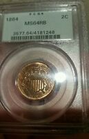 1864  PCGS MINT STATE 64 RB RED BROWN TWO CENT PIECE 2C OGH WOODGRAIN TONING UPGRADE?