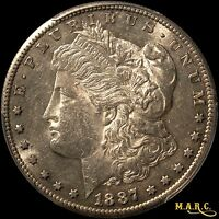 1887-S AU PCGS SECURE 1$ MORGAN DOLLAR, SEMI-PROOF-LIKE MINOR IF ANY CLEANING