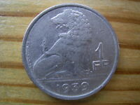 1939  BELGIUM 1 FRANC  COIN COLLECTABLE