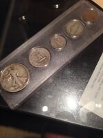 1939 SILVER BIRTH YEAR SET 5 COINS OTHER YEARS AVAILABLE SILVER WWLL ERA KOOL