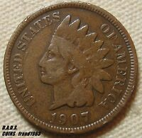 1907 INDIAN HEAD CENT PENNY SHIPS FREE IHC68