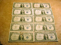 10 1935 & 1957 SERIES US SILVER CERTIFICATES INCLUDING ONE STAR NOTE BILL  1