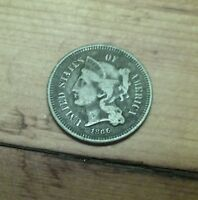1866 NICKEL THREE CENT PIECE   CIRCULATED 3C US COIN